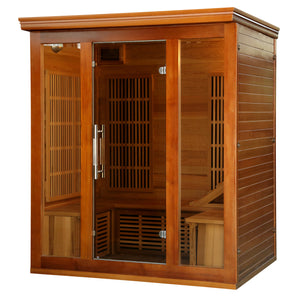 Cedar Elite 3-4 Person Premium Infrared Sauna Room with 9 Carbon Heaters
