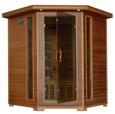 Whistler 4 Person Cedar Corner Infrared Sauna with 10 Carbon Heaters