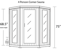 HeatWave Whistler 4 Person Carbon FAR Infrared Cedar Corner Sauna Room