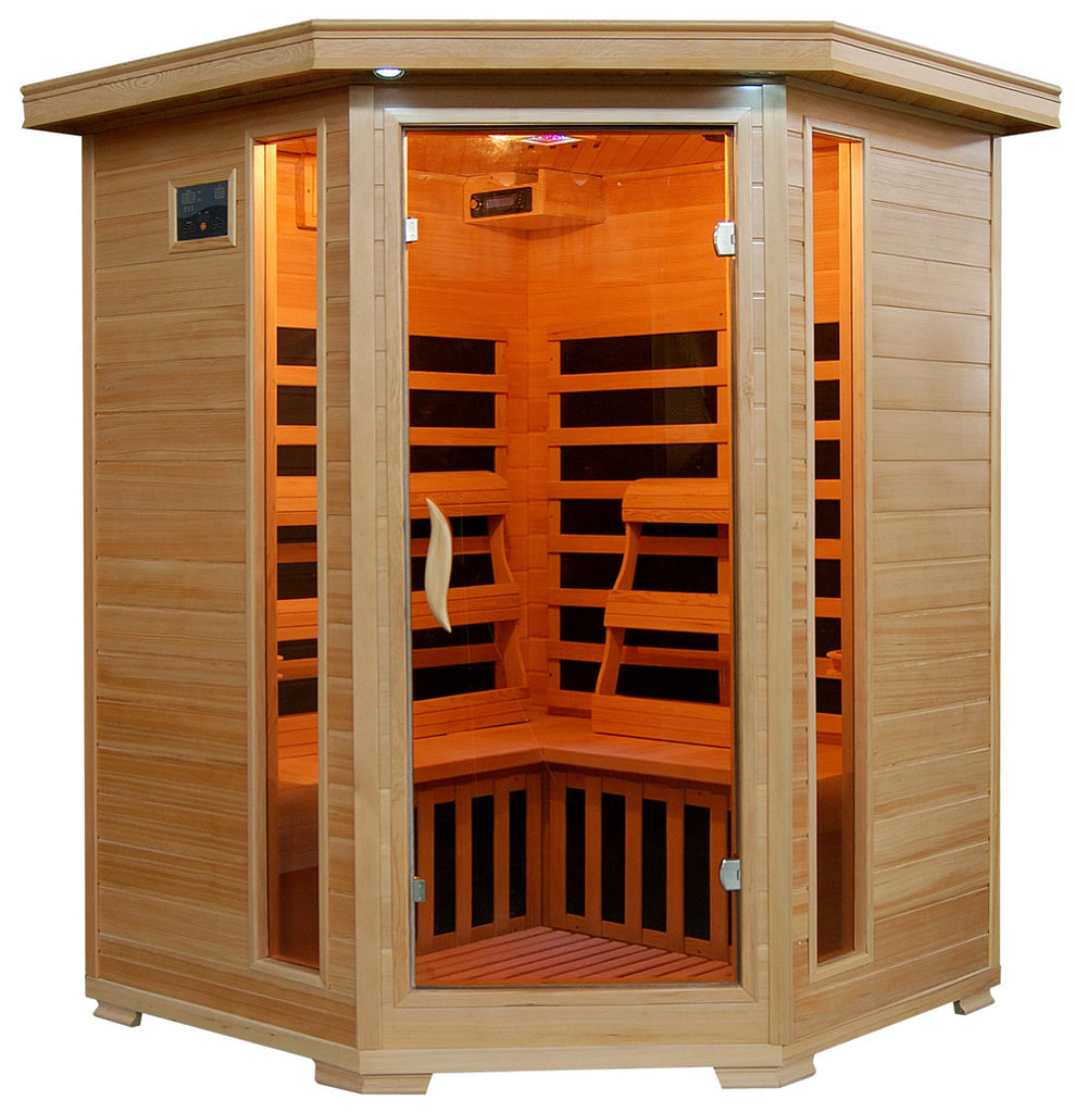 Sante Fe 3 Person Hemlock Corner Infrared Sauna with 7 Carbon Heaters