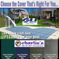 GLI Secur-A-Pool Swimming Pool Mesh Rectangle Safety Cover with Security Anchors