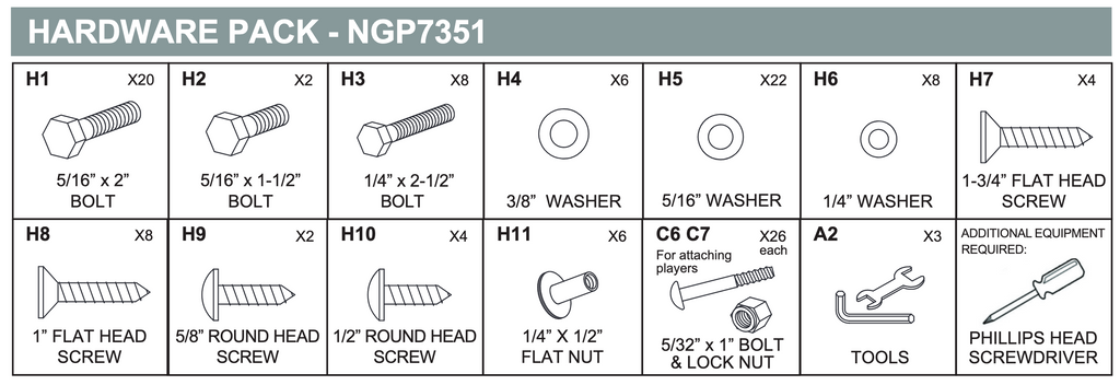 Replacement Part NGP7351 Hardware Pack