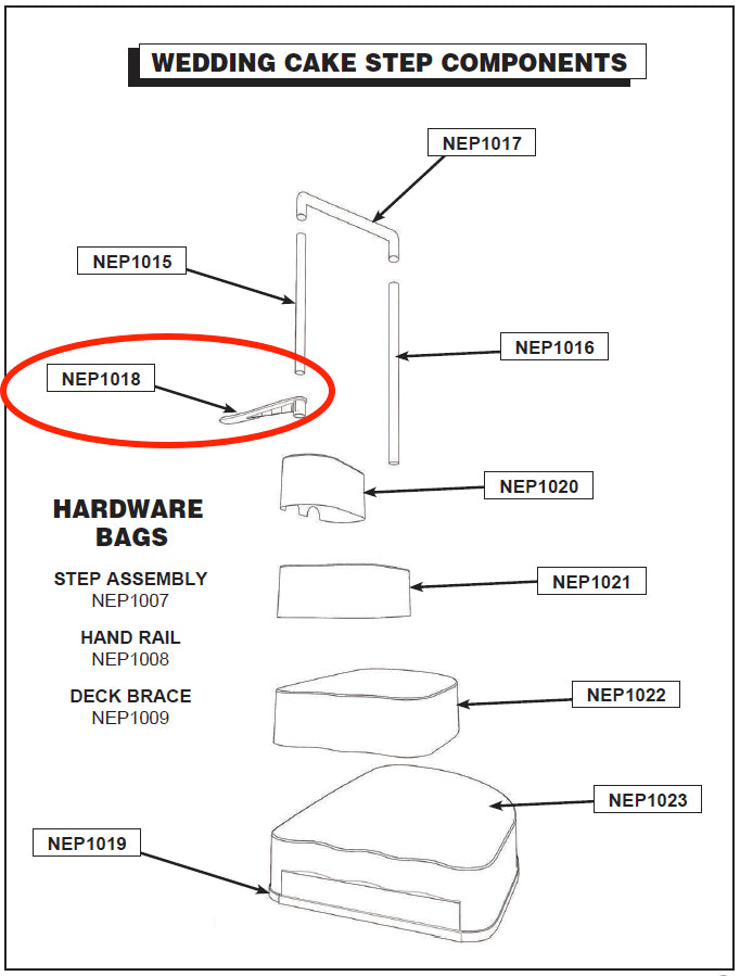 Parts Of A Wedding.Replacement Step Parts Nep1018 Wedding Cake Deck Flange Ac 62049