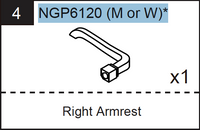 Replacement Poker Table Parts - NGP6120M or NGP6120W Right Armrest Choose Walnut or Mohogany
