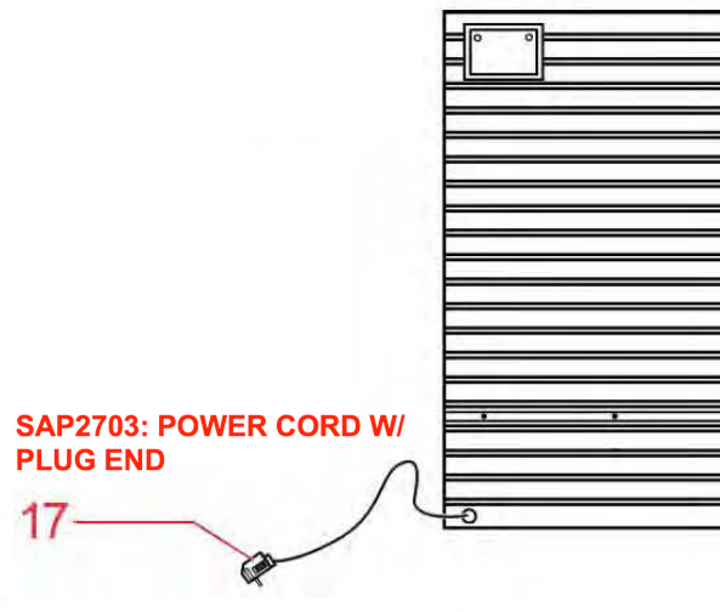 Replacement Part SAP2703: POWER CORD W/ PLUG END