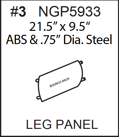 Replacement Part NGP5933 - Plastic Leg Plate with Steel Frame VERSION 1