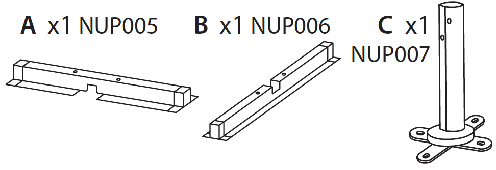 Replacement Part NUP005 NUP006 and NUP007 Cross Sections and Base Support