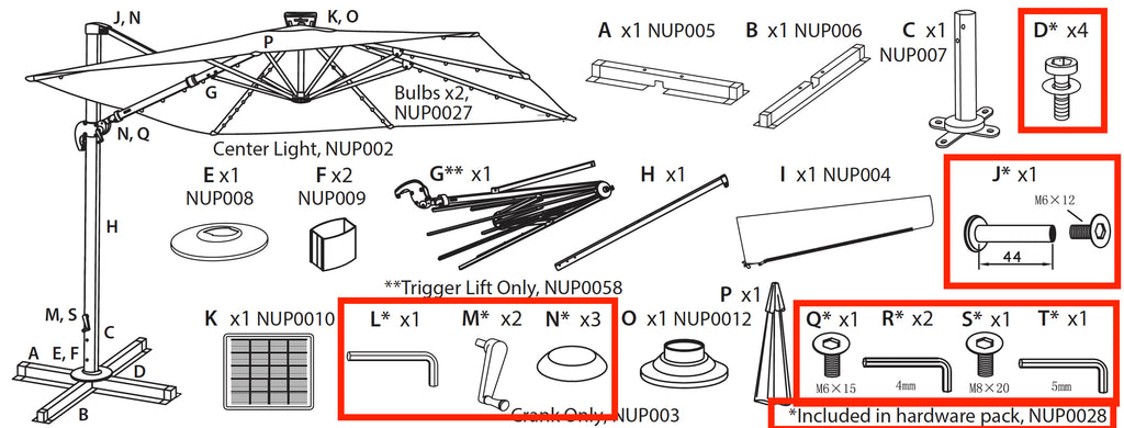Replacement Part NUP0028 Hardware Pack