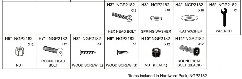 Replacement Part NGP2182 Hardware Pack