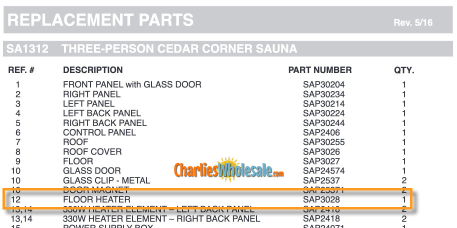 Replacement Part SAP3028 Floor Heater Versions #2, #3, and #4