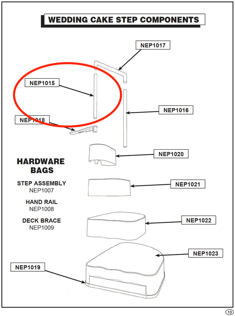 Replacement Step Parts - NEP1015 Wedding Cake SHORT POST FOR STEP HANDRAIL AC 62014