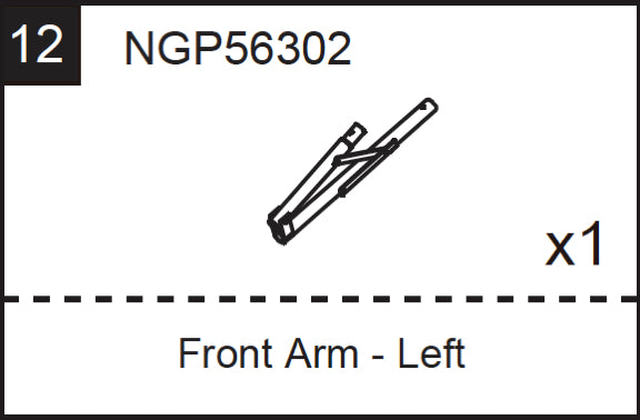Replacement Part NGP56302 Front Arm - Left