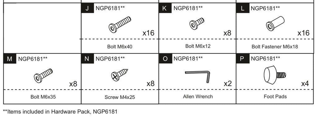 Replacement Part NGP6181 Hardware Pack