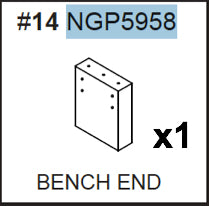 Replacement Part NGP5958 Black Bench End