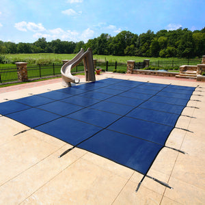 Swimming Pool Safety Covers - Arctic Armor 12-Year Mesh, Concrete Deck Hardware in Blue
