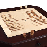 Fortress Chess, Checkers & Backgammon Pedestal Game Table & Chairs Set - Mahogany