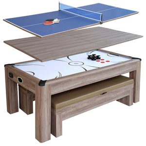 Driftwood 7-ft 3-in-1 Combo Air Hockey Table w/ Ping Pong and Dining