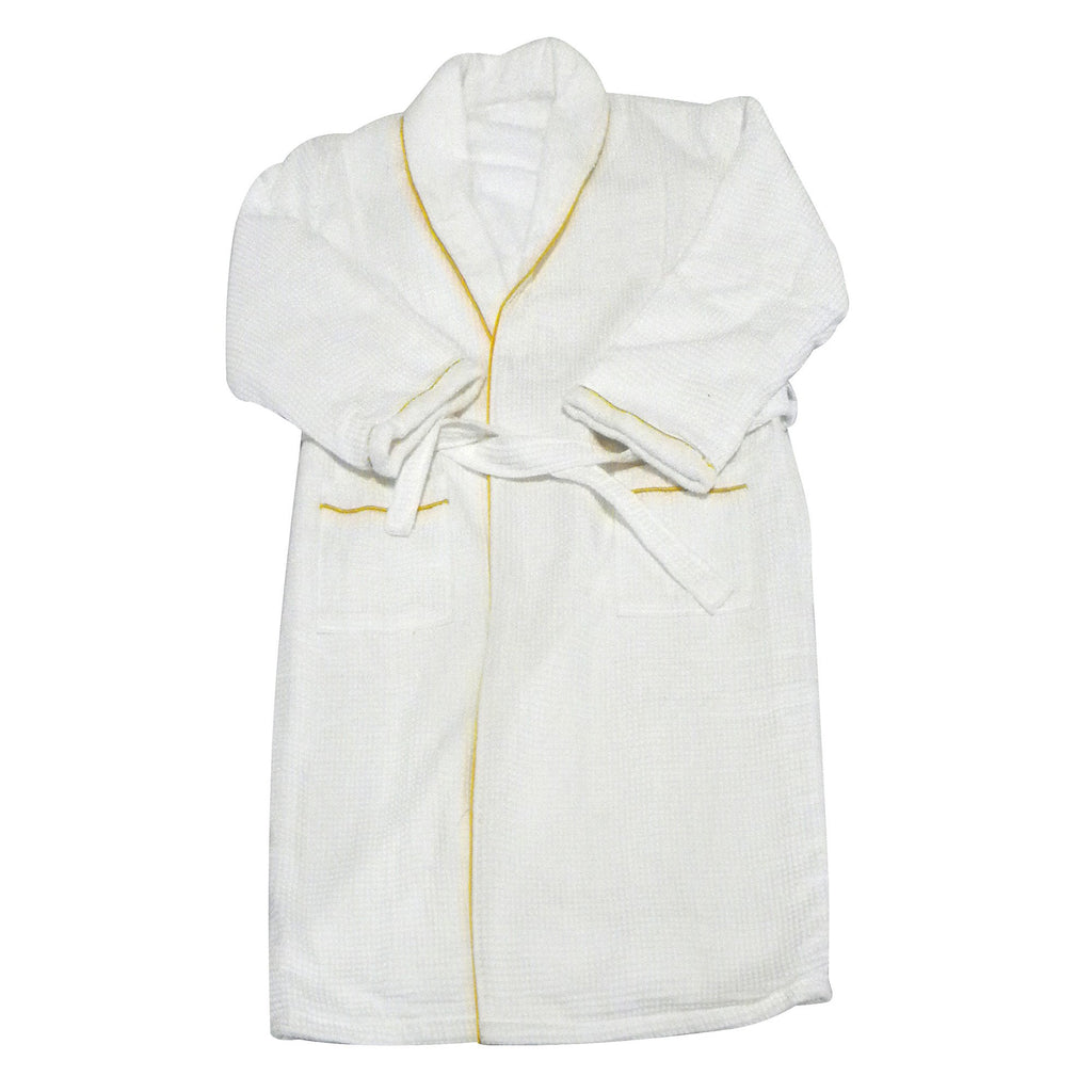 European Spa & Bath White Waffle Weave Terry Cloth Robe w/ Gold Embroidered Trim