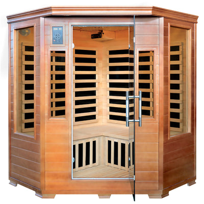 Majestic 3 Person Hemlock Corner Infrared Sauna with 7 Carbon Heaters