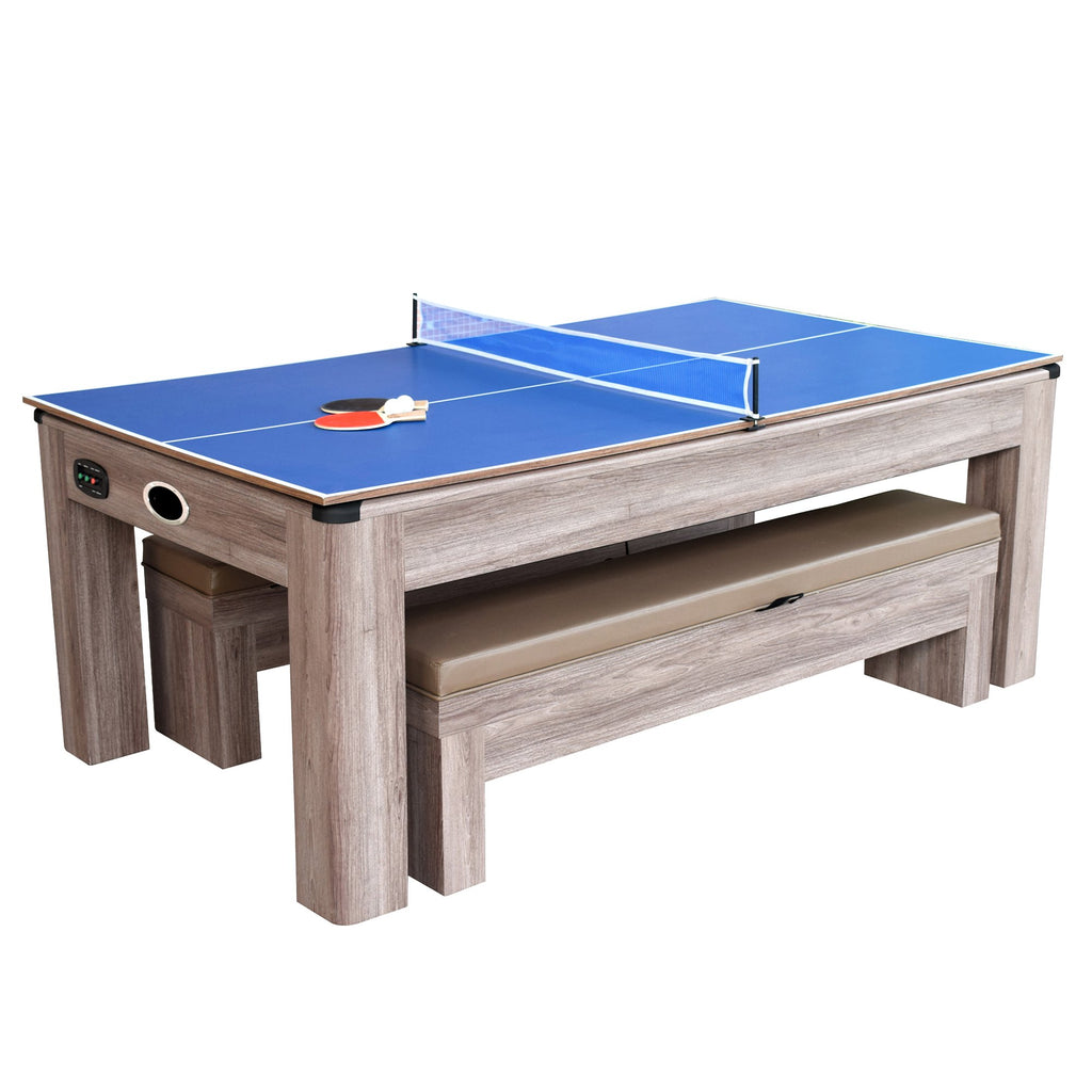 Driftwood 7u0027 Air Hockey + Table Tennis + Dining Combo Set