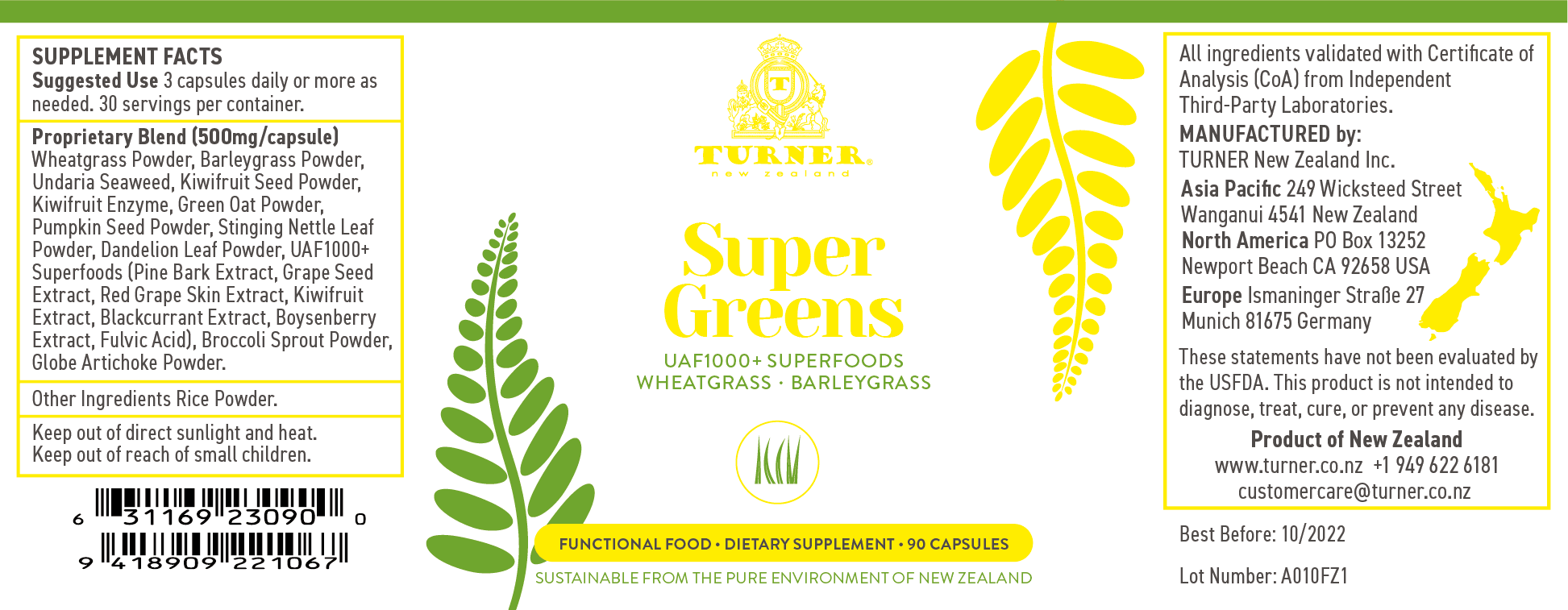 Super Greens - TURNER New Zealand
