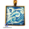 One of A Kind Hand Painted Dancing Swirls Pendant