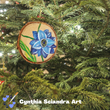 Wood Burned and Painted Blue Flower Ornaments