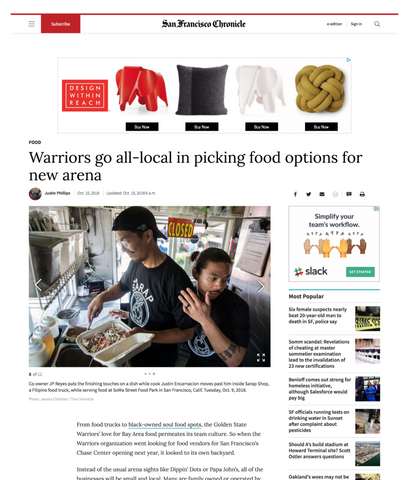 SF Chronicle article story on how the Warriors go all in on bringing local food into the new Chase Center Arena