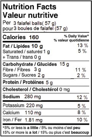 Gluten Free Falafel Nutritional Facts
