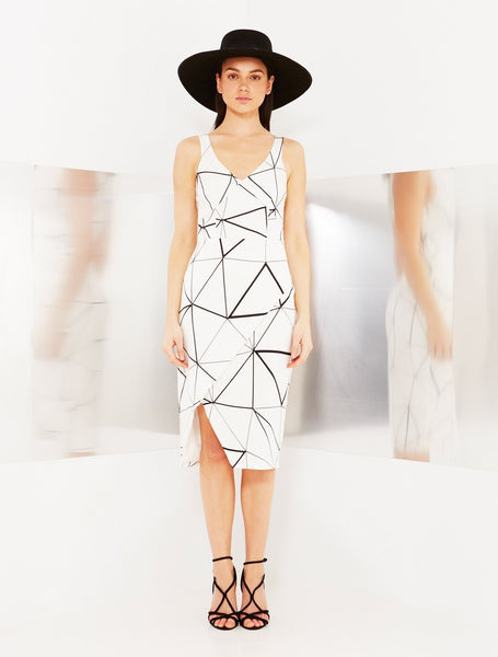 Mirror Grid Wrap Dress