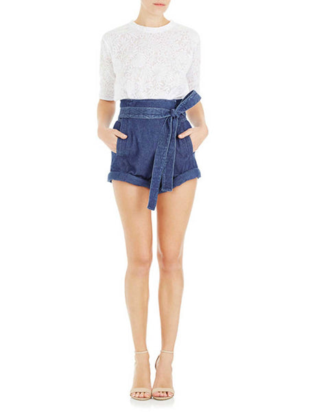 Peggy High Waist Shorts - Dark Denim