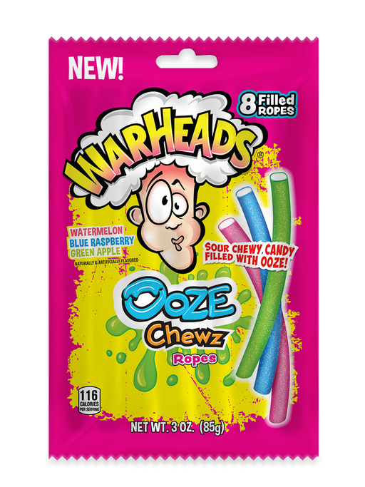 Warheads Ooze Chews Sour Chewy Candy Filled Ropes 3oz