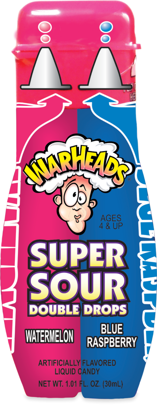 Warheads Super Sour Double Drops Watermelon and Blue Raspberry