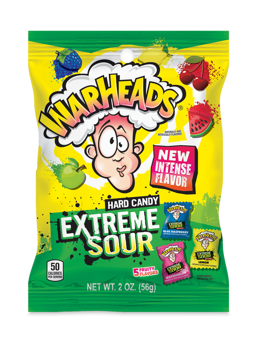 Warheads Extreme Sour Assorted Candy 2oz bag