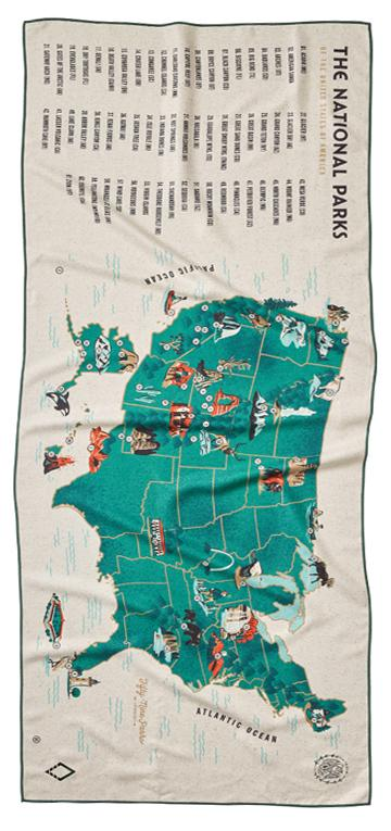 59 Parks: Us Map Towel (the Go-Anywhere, Multi-Purpose Towel)