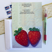 "Load image into Gallery viewer, ""Strawberry Duo"" notecard"