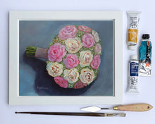 "Load image into Gallery viewer, ""Rose Wedding Bouquet"" 8x10 original painting"