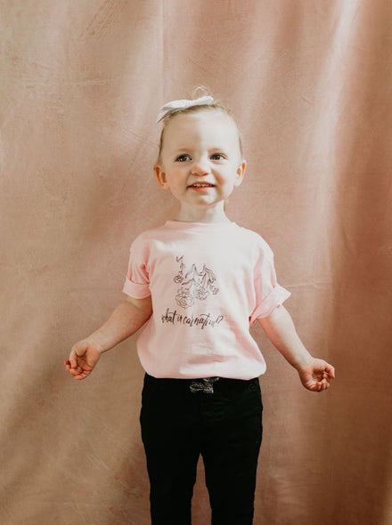 Toddler What in Carnation Tee