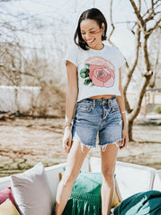 Rose Before Bros Crop Tee