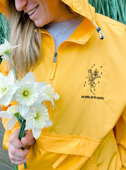 No Rain No Flowers Embroidered Packable Jacket