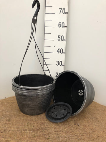 "Hanging Basket E with Inside Saucer - 12"" Brush Metallic"