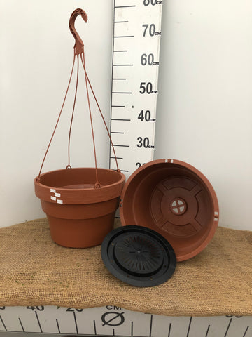 "Hanging Basket F with Inside Saucer - 12"" Clay Color"