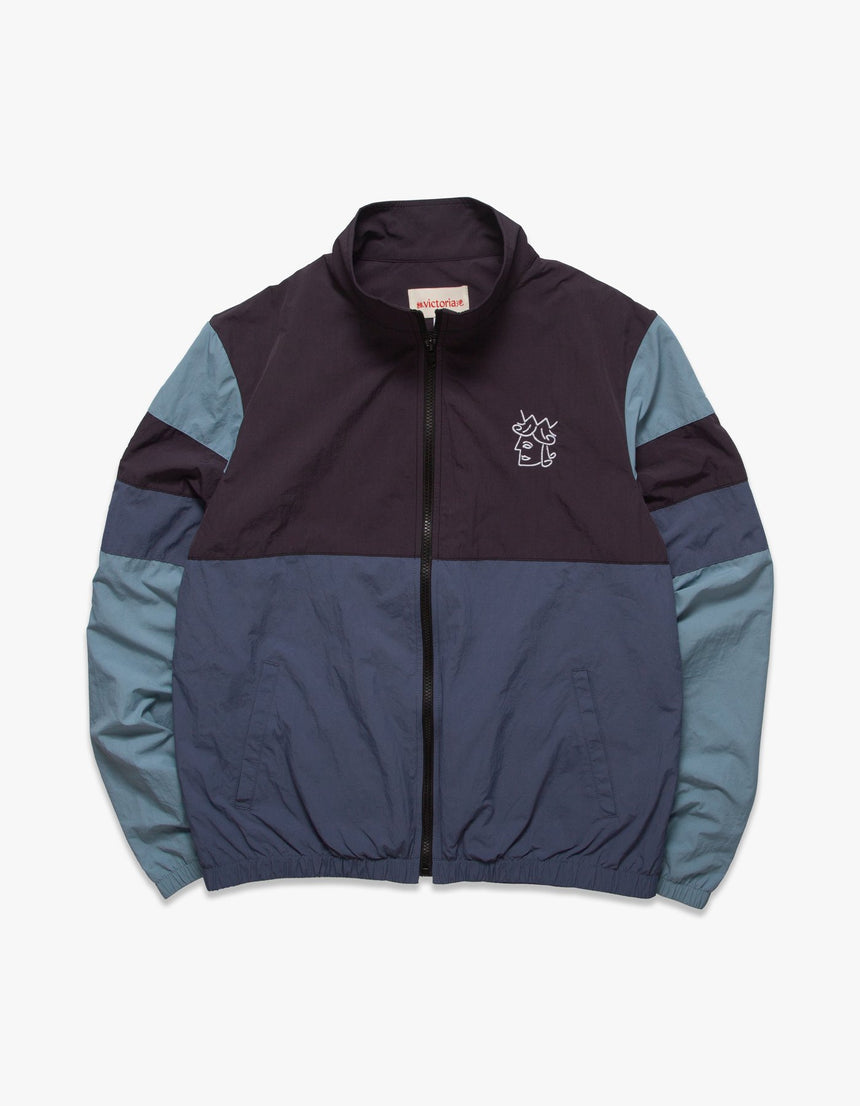 Victoria COLOR BLOCKED WINDBREAKER (Charcoal/Slate/Powder blue)
