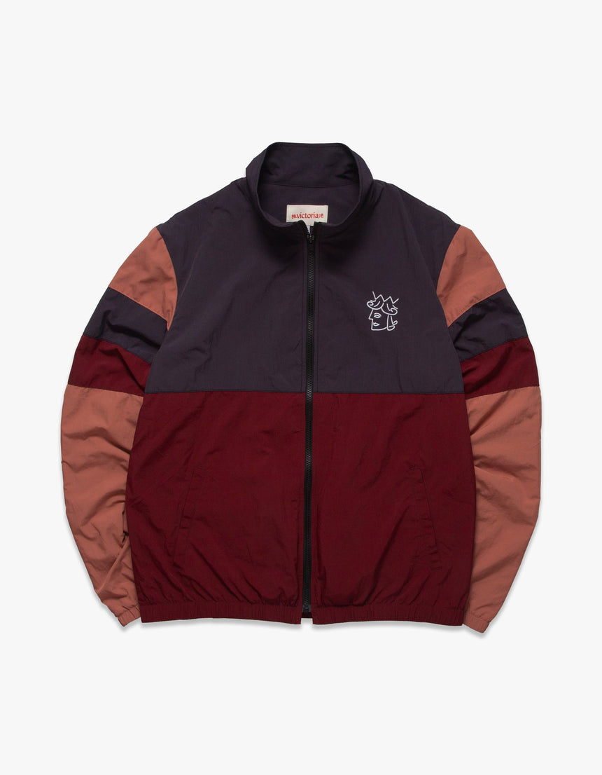 Victoria COLOR BLOCKED WINDBREAKER (Charcoal/Burgundy/Peach)