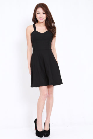 2way Cross Back Skater Dress (Black)