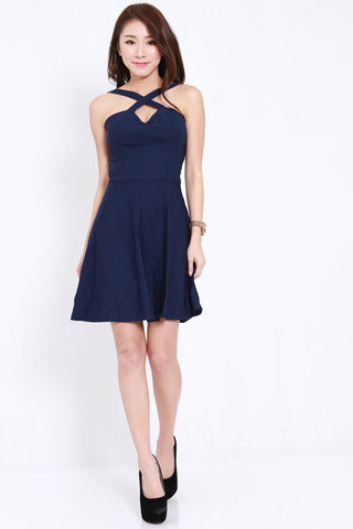 2way Cross Back Skater Dress (Navy)