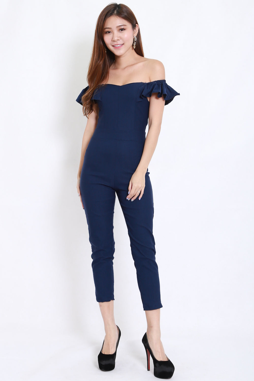 2way Flutter Sleeve Jumpsuit (Navy)