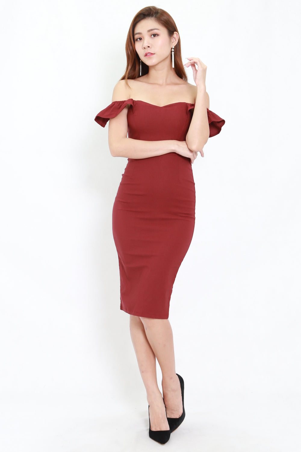 2way Flutter Sleeve Midi Dress (Maroon)