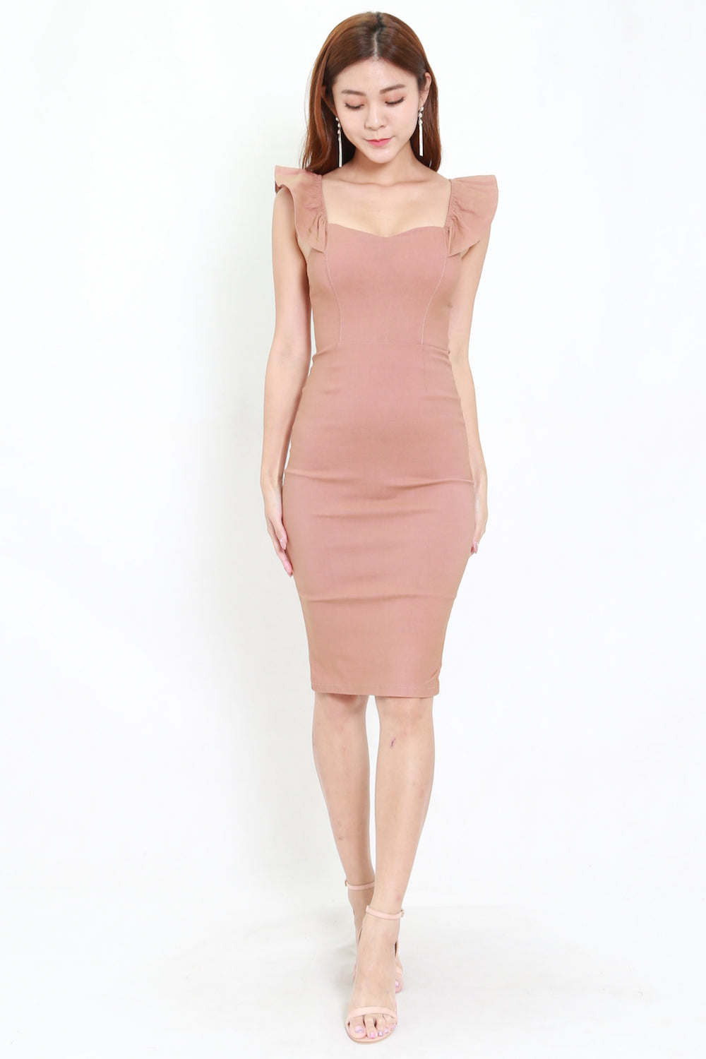 2way Flutter Sleeve Midi Dress (Tan-Nude)
