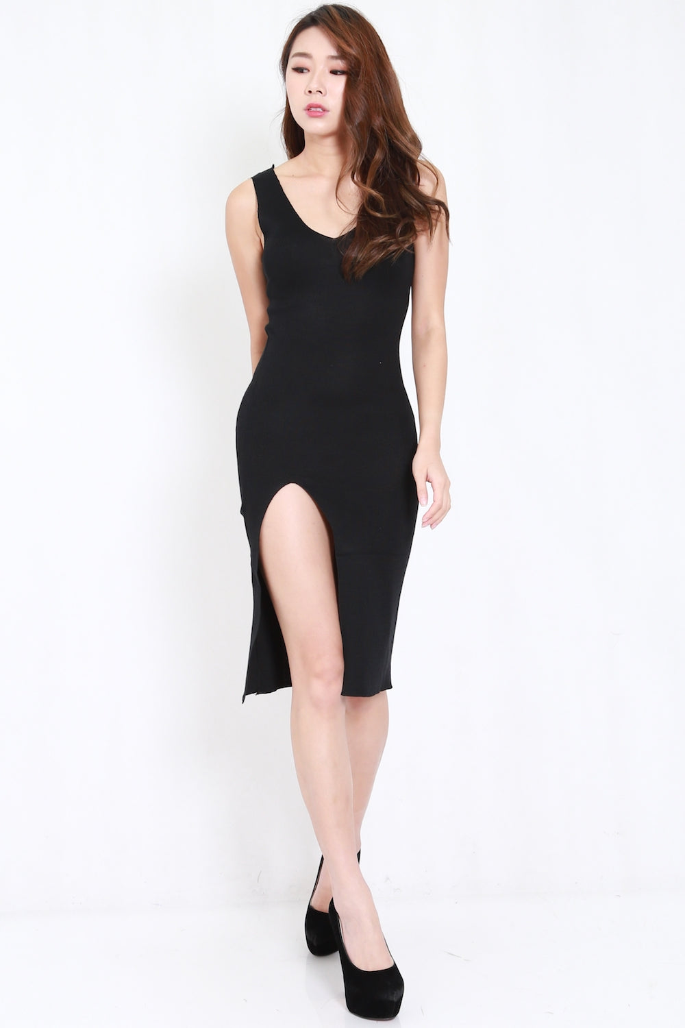 2way High Slit Knit Dress (Black)